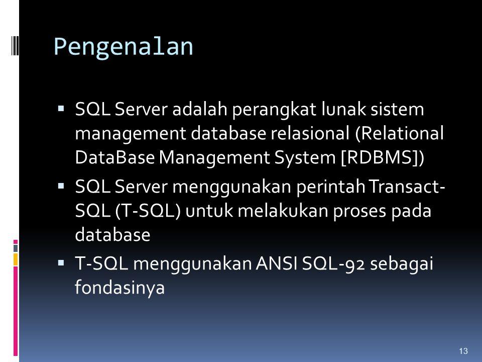 Pengenalan SQL Server adalah perangkat lunak sistem management database relasional (Relational DataBase Management System [RDBMS])